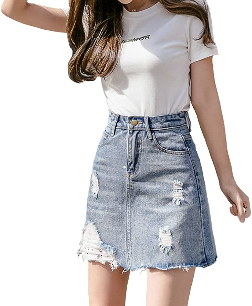 ATHX Women's A-Line Ripped Holes Washed Denim Mini Skirt with Shorts