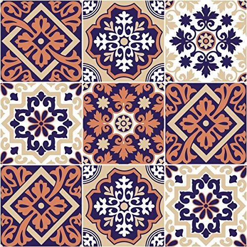 Ambiance-Live Baldosas hidráulicas Adhesivas para Pared–Azulejos–10x 10cm–9Piezas
