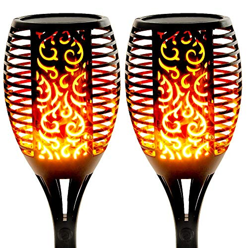 Walensee Solar Lights Outdoor Upgraded 43'(2 PACK) 96 LED Waterproof Flickering Flames Torch Lights Outdoor Solar Spotlights Landscape Decoration Lighting Dusk to Dawn Auto On/Off Security Torch Light
