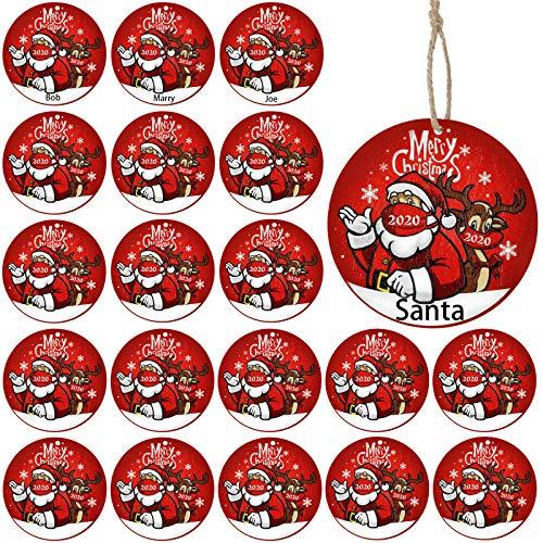 30 Pezzi 2020 Ornamenti Merry Christmas Ornamenti in Legno Babbo di Natale e Alce Che Indossano la Muffola della Bocca Ornamenti Pendenti dell'Albero di Natale per Decorazione di Natale
