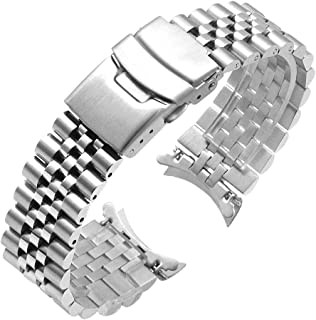 Juntan Stainless Steel Curved Ends Tapered 20mm 22mm 23mm 24mm Metal Watch Band Flexible Watch Strap Replacement Bracelet Deployment Double Flip Lock Buckle Silver Black
