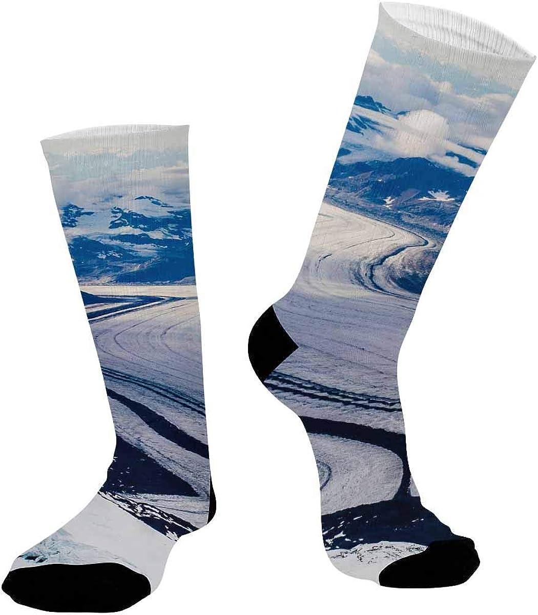 INTERESTPRINT Unisex Sublimated Athletic Crew Performance Socks Ice River, Ice Mountain
