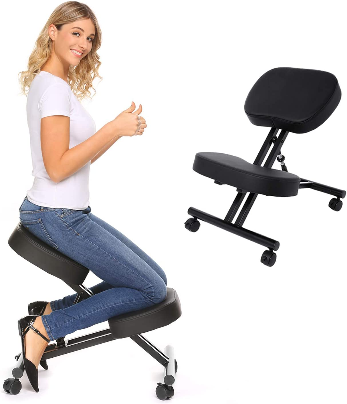 Ergonomic Kneeling Chair Adjustable お気にいる Stool and for Office 信頼 Po Home