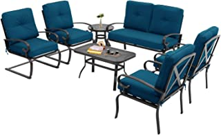 Incbruce 7Pcs Outdoor Patio Furniture Conversation Sets (Loveseat, Coffee Table and Bistro Table, 2 Spring Chair, 2 Lounge Chairs) -Wrought Iron Cafe Furniture Sets with Peacock Blue Cushions