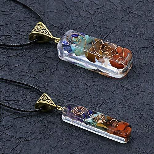 SEKDAQ 7 Piedras De Cristales De Chakra De Orgón Colgante De Orgón, Collar De Chakra De Orgonita para Protección EMF Y Curación Espiritual (Juego De 2)