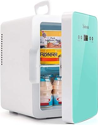 AstroAI Mini Fridge Refrigerador para el Cuidado de la Piel de 6 litros / 8 latas con Control de Temperatura Enfriador Termoeléctrico Portátil AC / 12V DC y Calentador para Dormitorio Cosméticos Medicamentos Leche Materna (VERDE)