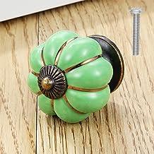 Mooie keramische knoppen, Vintage pompoen kast lade knop, Enkele gat pull handgrepen met schroeven, Diameter 38mm, Groene ...