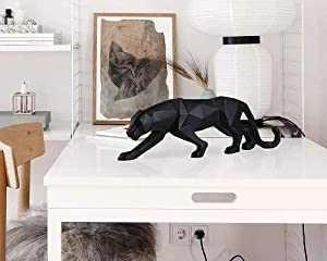 Leopard Statue Modern Abstract Black Panther Statues Resin Leopard Animal Sculptures Home Decor for Bookcase and Table(Black)