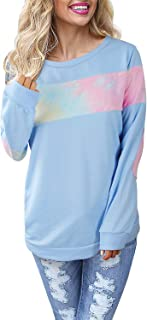 Women's Color Block Plaid Shirt Crew Neck Elbow Patches Pullover Sweatshirt Top