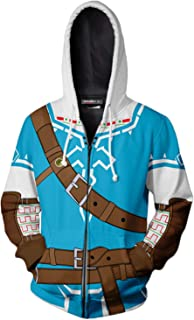 Hibuyer Mens Link 3D Printing Hoodie Hyrule Warriors Zip Up Top Anime Cosplay Costumes Unisex