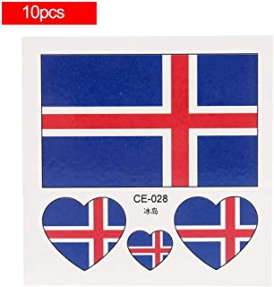 Temporary Tattoos National Flags, Waterproof & Non-toxic, 2018 World Cup Flag Face Body Tattoos Stickers National Flag Sticker, 32 Countries Heart Shaped, 10pcs(Iceland)