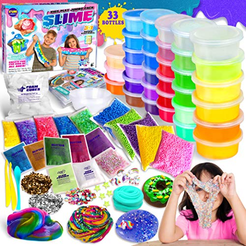 DIY Jumbo Slime Kit for Girls Boys Kids, Funkidz Ultimate Fluffy Cloud Clear Butter Glitter Glow in Dark Slime Making Kits Includes 33 Ready Slime Clay Unicorn Charms Supplies Stress Relief Toy