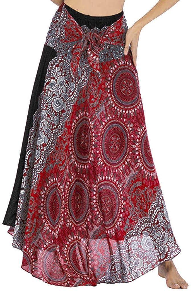 Pole-Trees Women Summer Full/Ankle Length Casual Floral Long Skirt Boho Elastic Waist Beach Halter Skirt