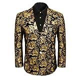 Men Golden Floral Dress Suit Jacket Blazer Slim Fit Wedding Prom Party Notched Lapel Tuxedo Uniform Outfit (XX-Large, Gold)