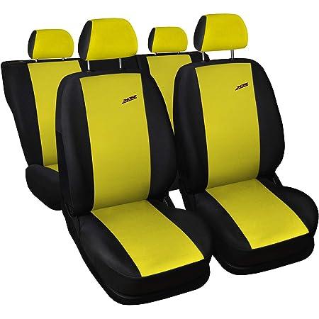 3er Set Saferide Autositzbezüge Pkw Universal Auto Sitzbezüge Polyester Gelb Für Airbag Geeignet Für Vordersitze Und Rückbank 1 1 Autositze Vorne Und 1 Sitzbank Hinten Teilbar 2 Reißverschlüsse Auto