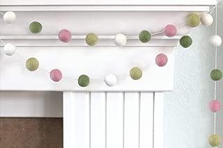"Pink, Green & White Spring Easter Felt Ball Garland- 1"" (2.5 cm) Wool Felt Balls"