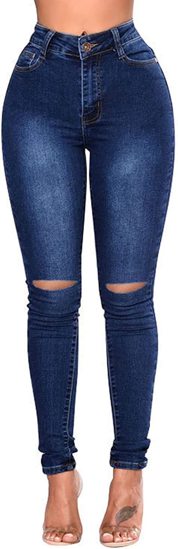 Womens Ripped Skinny Jeans Trendy Casual Boyfriend High Waist Stretch Button Slim Fit Denim Trouser Pencil Pants