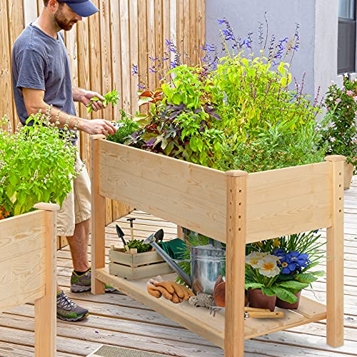 KINGSO Raised Garden Bed 4FT Elevated Wooden Planter Boxes Kit Outdoor with Legs 48x22x30in Raised Planter Garden Grow Box with Shelves for Vegetable Flower Herb Backyard Patio Natural