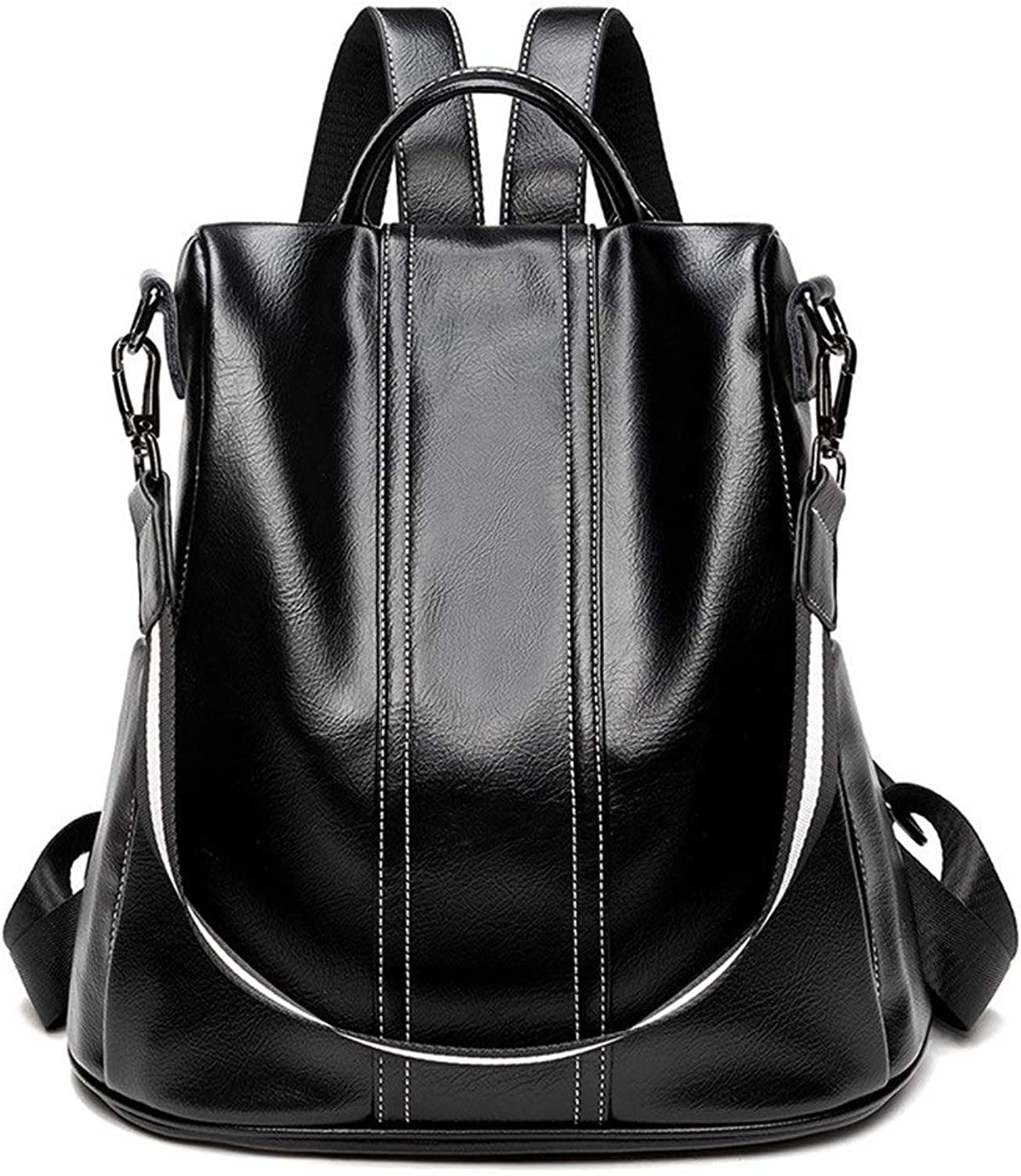 Stylish Women's Backpack Soft Leather Schoolbag Multi-Functional Leisure Outdoor Ladies Travel Backpack (color   Black, Size   One Size)