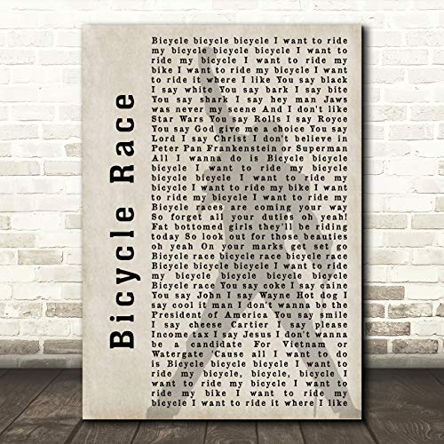 Fiets Race Shadow Song Lyric Quote Muziek Gift Wall Art Poster Print Medium A4