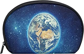 ALAZA Earth Planet Half Moon Cosmetic Makeup Toiletry Bag Pouch Travel Handy Purse Organizer Bag for Women Girls
