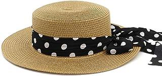 LPKH Women Straw Braid Visor Sun Hat Big Bowknot Panama Wider Brim Straw Hat Beach Cap hat (Color : Yellow)