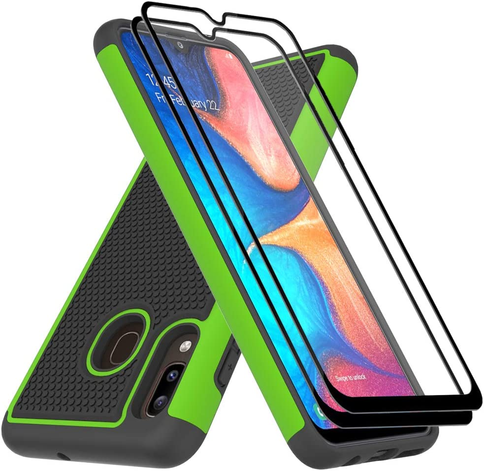 Dahkoiz Case Compatible for Samsung Galaxy A20/A30 Case with Tempered Glass Screen Protector, Sturdy Durable Armor Defender Cover Dual Layer Hybrid Protective Phone Cases for Galaxy A20/A30, Green
