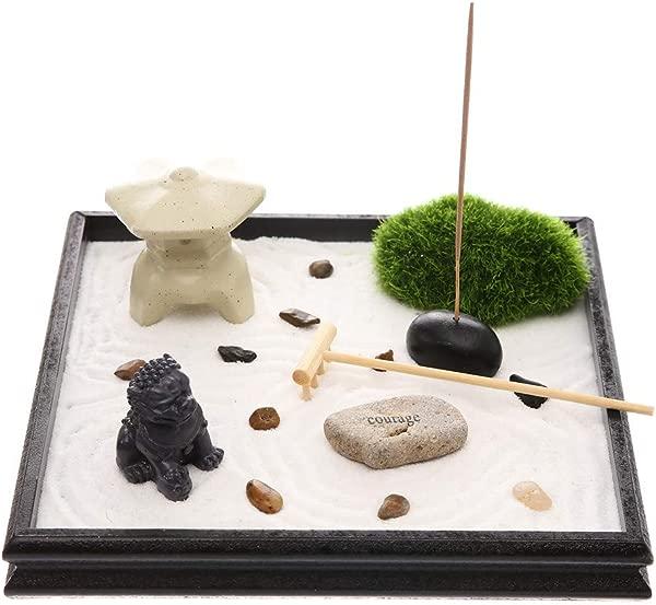 Prime Feng Shui Mini Meditation Zen Garden Lion And Tower Figures Mini Garden With Grass And Natural River Rocks Incense Burner