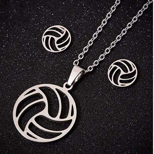 Halskette Edelstahl Volleyball Halskette Set Für Frauen Volleyball Sport Fan Halsketten Anhänger Charme Schmuck