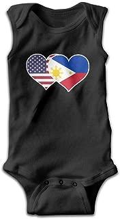 American Philippines Flag Heart Newborn Infant Baby Sleeveless Romper Coverall Bodysuit Pajamas