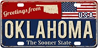 InterestPrint Oklahoma the Sooner State Rusty Metal Sign with American Flag Metal License Plate Tag Sign Decor for Car Woman Man - 12