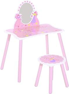 HOMCOM Coiffeuse Enfant - Tabouret Inclus - Table de Maquillage dim. 59L x 39l x 82H cm - Motifs fées, Papillons, Fleurs -...