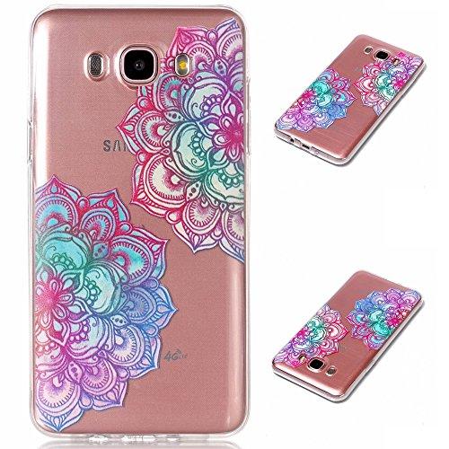 Samsung Galaxy J7 2016 SM-J710 Funda, MHHQ Generic [Ultra-delgado] [Shock-Absorción] [Anti-Arañazos] [Transparente] TPU Silicona Case Cover Parachoques Carcasa Funda Bumper para Samsung Galaxy J7 2016 SM-J710 -Mandala