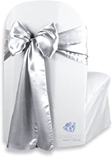 Sparkles Make It Special 200 pcs Satin Chair Cover Bow Sash - Silver - Wedding Party Banquet Reception - 28 Colors Available