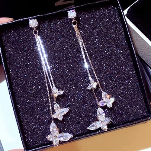 Kpcxdp Pendientes Cristal de Mariposa Transparente Susu Pendientes Bling Zircon Largas Diferentes nueces de Mariposa Joyería de Boda