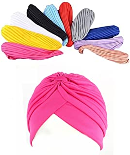 Many Pack Stretch Polyester Turban Head Cover Twisted Pleated Headwrap