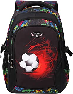 South Koala Football Pattern Printing 16-18 inch Backpack Primary School Student Bag Lightweight Large Capacity School Bag for 6-12 Years Old (Small, Black)