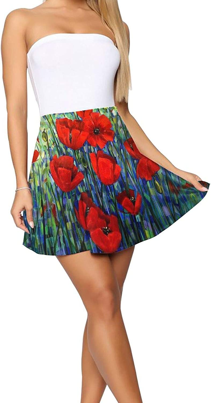RHRFOL Red Poppies Women's Basic Versatile Stretchy Flared Casual Mini Skater Skirt