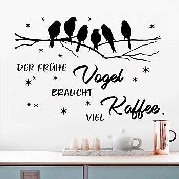 Wandsticker4u Xl Wandtattoo Kaffee Spruch Vogel Auf Ast I Wandbilder 80x60 Cm I Wandaufkleber Wand Deko Selbstklebend Zitate Kuche Wohnzimmer Esszimmer Schriftzug Sterne Schwarz Baum Amazon De Baumarkt