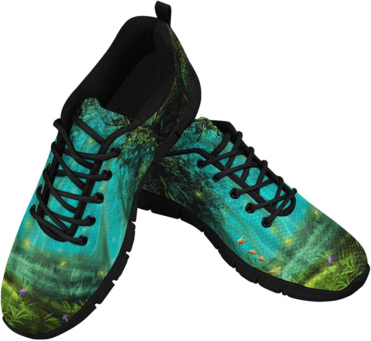 InterestPrint Fantasy Fairy Forest Green Women's Sneaker Lace Up Running Comfort Sports Shoes