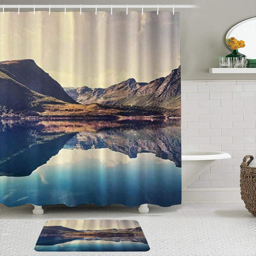 SUDISSKM Shower Curtain Sets with Very popular! Mountains Lake Cheap SALE Start Non-Slip S Rugs