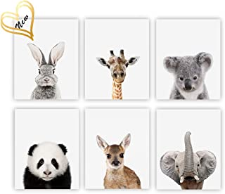 Barri Design Animals Decor Canvas Pictures Baby Animals Nursery Decor Art Boys & Girls Room Glitter Wall Decor (UNFRAMED)