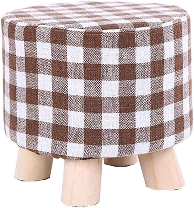 Solid Wood Round Footstool Thick Wood Small Osman Shoes Bench Removable Multi Functional Gray Cloth Cover Economic Pine Legs 28cmx25cm