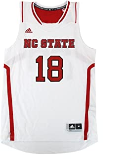 adidas NC State Wolfpack NCAA #18 Official Basketball Home White Jersey Men's