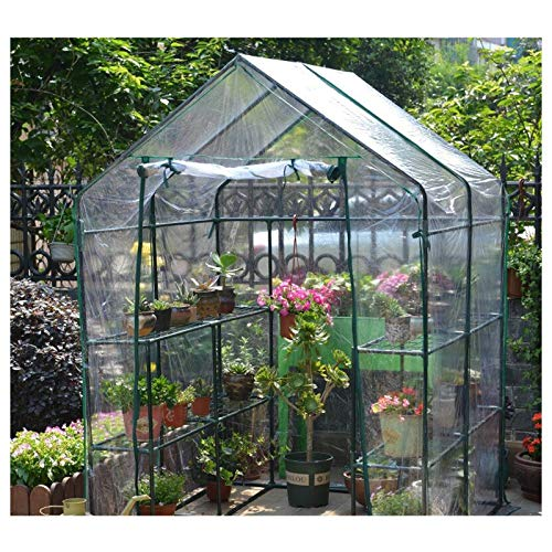 MAHFEI Greenhouses for Outdoors, 2-Tier Patio Walk-in Greenhouse Plant Stand Removable Greenhouse Tent Cover Easy to Assemble Good Stability for Outdoor Plants Insulation and Anti-Frost