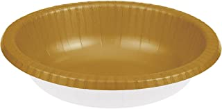 Creative Converting 173276 Touch of Color Paper Bowls, Glittering Gold