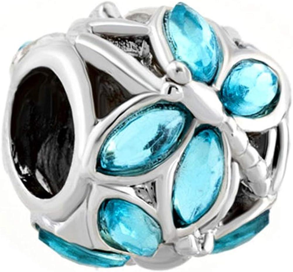 Third Time Charm Blue Dragonfly Charm Beads Fits European Snake Chain Charm Bracelet
