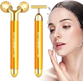2-IN-1 Face Massager Roller Golden 3D Roller Electric Sonic Energy Face Roller and T Shape Face Massager Kit for Face Lift...