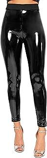 Womens Vinyl Shiny Disco Leggings Ladies PVC Wet Look Stretchy High Waist Skinny Trouser Pants UK 8-14