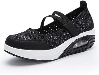 CYBLING Women's Platform Walking Shoes Lightweight Mesh Slip-on Fitness Work Out Sneaker Nurse Shoes